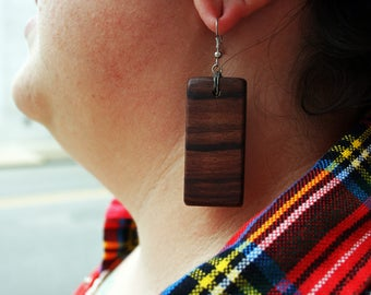 Wood Gems Earrings: Bullet Wood