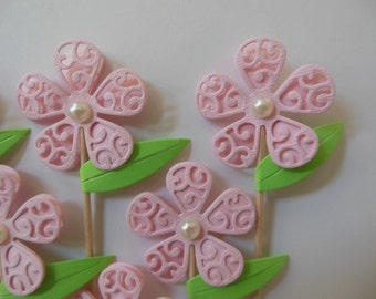 Flower and Leaf Cupcake Toppers - Pink and Green - Girl Birthday Parties - Bridal Showers - Weddings - Girl Baby Showers - Set of 6