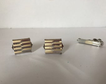 Men's Swank Cuff Links and Tie Clip * Gold and Silver Tone * Vintage Swank Cuff Links and Tie Clasp