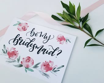 Bridesmaid Card - Printable Card - Digital Download - Will you be my Bridesmaid Flower Girl Maid of Honor Matron of Honor 5x7 Card