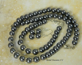 Bridesmaid Charcoal Grey Glass Pearl 3 Piece Necklace Set, Gray Earrings, Gray Bracelet, Bridesmaid Jewelry Set, Charcoal Wedding, N01