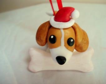 Beagle Christmas Ornament Dog Ornaments Polymer Clay Beagle Christmas Ornament Pet Ornament