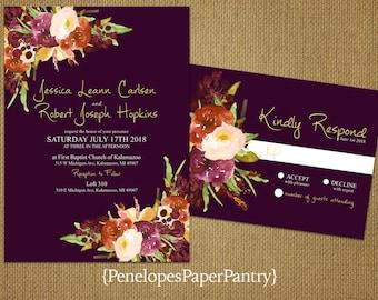 Elegant Plum Fall Wedding Invitation,Burgundy,Burnt Orange,Ivory,Roses,Gold Print,Shimmery,Custom,Printed Invitations,Wedding Set,Envelopes