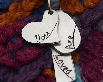 You Are Loved Necklace on Satin Cord - Valentine's Day - Heart Necklace - Love Jewelry