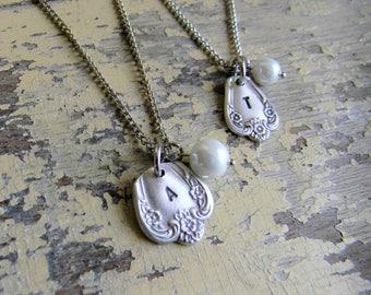 Spoon Jewelry Charm Necklace, Initial Charm Necklace, Personalized Initial Charm Necklace, Repurposed Silverware Jewelry, Initial Jewelry