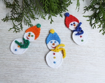 Crochet Snowman Set of 3 Christmas Tree Decor Ornaments, Christmas Home Decor