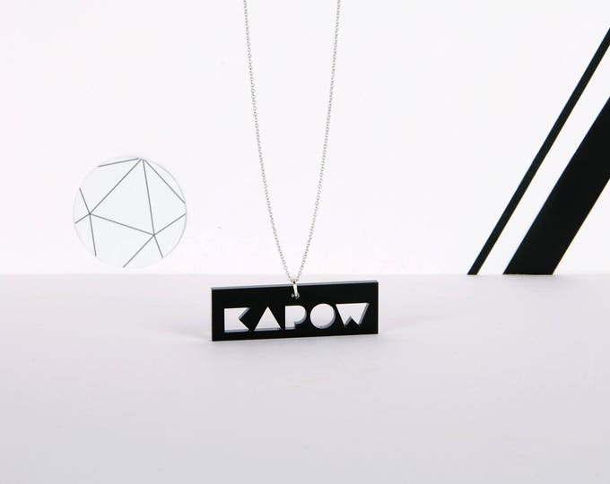 Black mini KAPOW typographic acrylic statement necklace