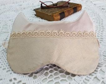Handmade night sleeping mask. Blindfold sleep mask. Travel sleep eye mask. Airplane sleeping eye mask. Travel gift for her.