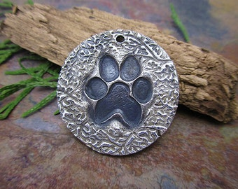 "Artisan Silver Precious Metal Clay ""Puppy Paw"" Pendant a Dream Girl Bead Exclusive"