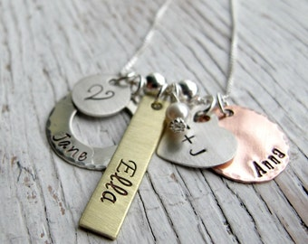 Personalized Family Charm Necklace, Mother's Necklace, Mother's Day Gift, Mommy, Grandma, 4 or 5 names, Hand stamped Mixed Metals