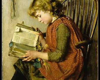 Counted Cross Stitch Patterns Needlework for embroidery -A Young Girl Reading