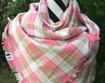 Pink and Camel infinity scarf, plaid flannel scarf/shawl