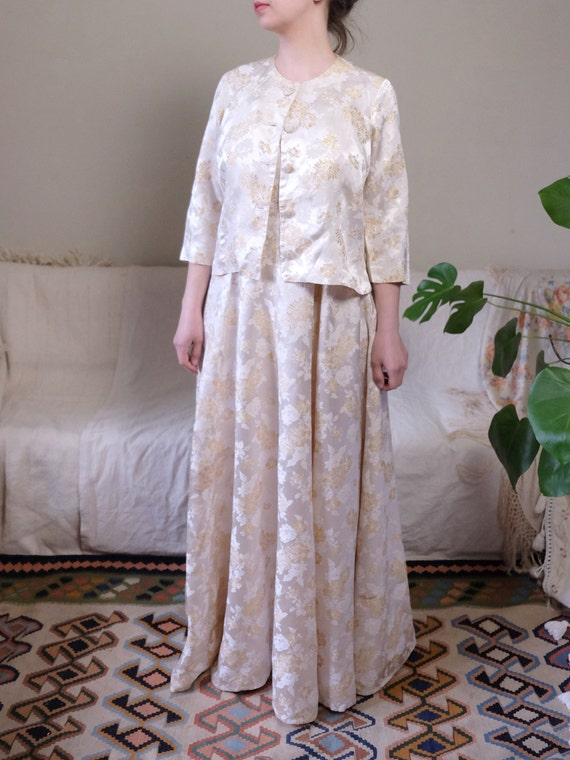 Gold Wedding Crop Brocade length 50's G1 Wedding 50's Jacket Gown Flowers dress Set Dress Vintage Jacket Full and medium Bridal Dress 4FFf0X1y