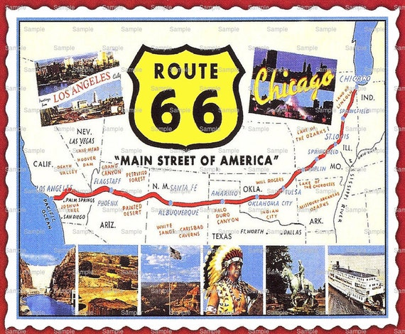 Route 66 Map Birthday - Edible Cake and Cupcake Topper For Birthday's and Parties! - D1675