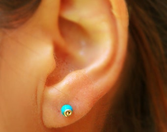 Tiny turquoise studs, tiny turquoise earrings, gold stud earrings, Turquoise post earrings, turquoise jewelry, wire wrapped gold earrings