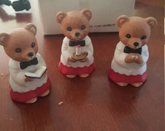 Vintage homeco home interiors 3-piece set figurines church choir bears NO. 5100