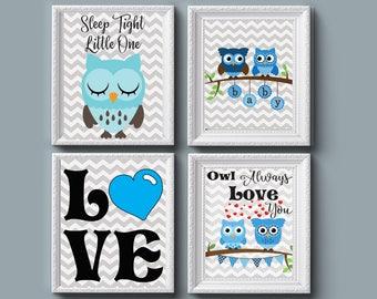 Owl Digital Prints 8x10, Set of 4, Boy bedroom decor, nursery decor, wall decor, Girl bedroom decor, baby, pictures