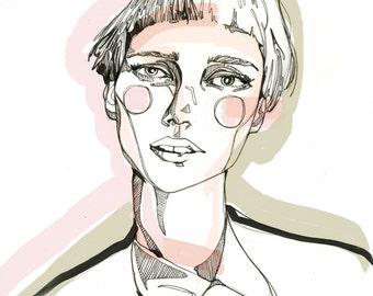 Rosy Cheeked Girl: Fashion Illustration/Art Print