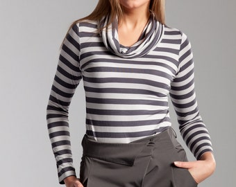 Women's Long Sleeve Cowl Neck Knit Jersey Top  #3005 Grey Stripes Reg 69.00