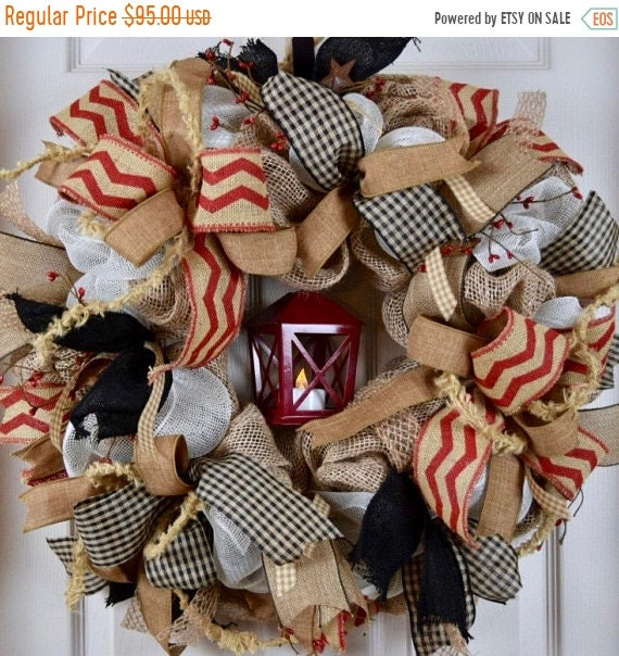 20% ANNIVERSARY SALE Lantern Red Black and Burlap Wreath with Pip Berries and Rusty Tin Stars; Red and Black Primitive Country Door Decor; R