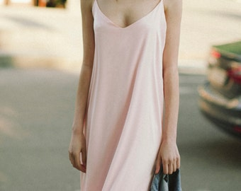 Pink silk slip dress / Bridesmaids gown