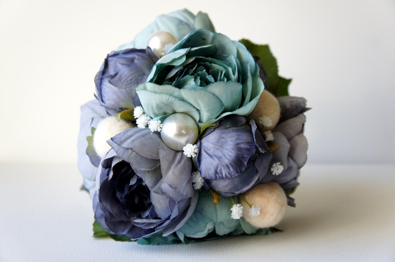 Blue Peony Bridal Bouquet Silk Wedding Flowers Vintage