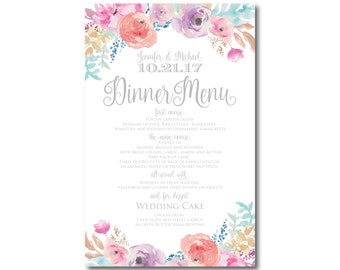 Floral Wedding Menu Watercolor Floral Watercolor Menu Flower Wedding Floral Menu Wedding Menu Wedding Dinner Dinner Menu #CL198