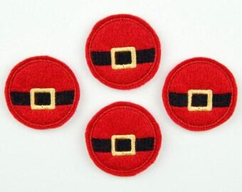 SANTA BELT - Embroidered Felt Embellishments / Appliques / Bow Center - Red, Black & Gold  (Qnty of 4) SCF4110