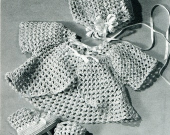 1940's Lacy Crocheted Baby Christening Bonnet Booties & Sacque Crochet Pattern Instant Download PDF
