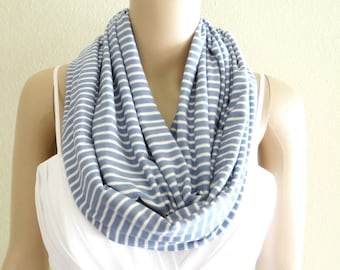 Blue Jay And White Stripe Circle Scarf. Infinity Scarf. Soft Cotton Scarf.