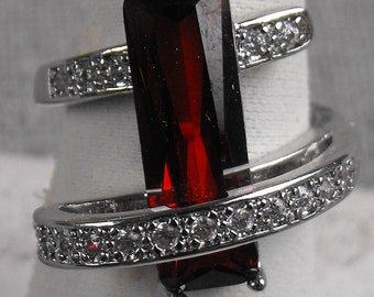 Sterling Silver Ruby Ring Emerald cut Ruby Size 6