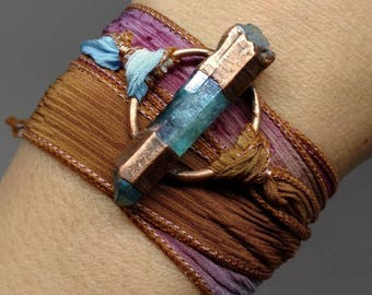 Silk Wrap Bracelet - Boho Wrap Bracelet - Gifts for Her - Raw Crystal - Colorful Bracelet - Unique Jewelry - Aqua Aura Quartz Wrap Bracelet