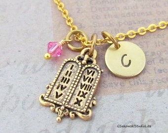Ten Commandments Charm Necklace, Personalized  Hand Stamped Initial Monogram Birthstone Antique Gold Ten Commandments Necklace