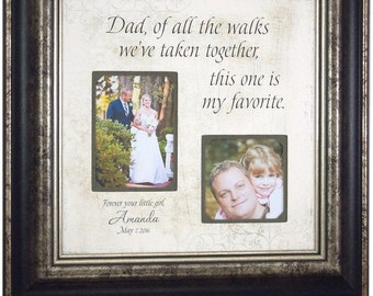 Wedding Gift for Dad, Father Of The Bride Gift, Personalized Picture Frame, dad handkerchief, Of All The Walks, Dad Thank You Gift, 16x16
