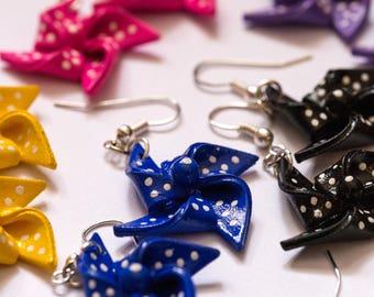 Cute Blue Shrink Plastic Pinwheel earrings