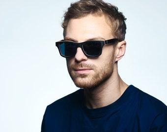Black Sunglasses - Black Maple Wooden Sunglasses, Wayfarer styled sunglasses,Polarized Wood Sunglasses