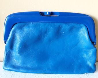 1970s Blue Clutch Handbag / Purse