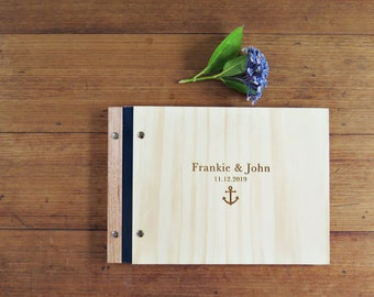 Nautical Wedding Guest Book, Anchor Wedding Book, Engagement Gift, Shower Gift