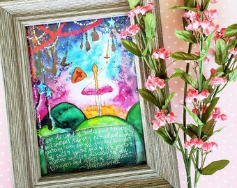 Hebrews 4:12 Sword Girl 5x7 Print Bible Word of God Powerful Fine Art Worship Watercolor Painting War Room Growing Meadows Tai Bender
