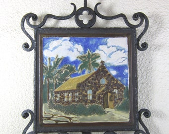Spanish Style Pebble Misison Tile and Wrought Iron Plaque