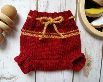 NEWBORN Wool Cloth Diaper Cover, Hand Knit Cloth Diaper Cover, Red, Yellow, Baby Boy, Diapering, Soaker, Wooly, Shorty, 100% Wool