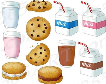 50% OFF Milk and Cookies Clipart, Milk and Cookies Clip Art, Chocolate Chip, Scrapbooking, Cookies and milk, Glass Of Milk, PNG, Commercial
