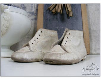FRANCE antique children's shoes white