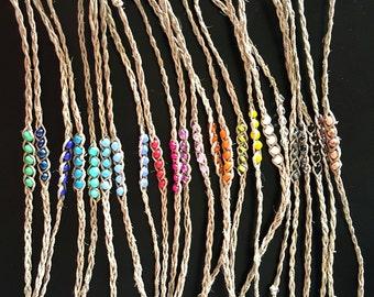 NEW! Handmade! Beaded hemp wish bracelet, you choose your color!