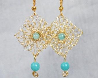 Handmade wire crochet earrings.Gold wire earrings.Dangle crochet gold wire earrings Aqua earrings Handcrafted wire jewelry.Knitted earrings.