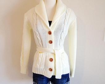 Vintage Mid Century Ladies Fisherman Sweater Size Small