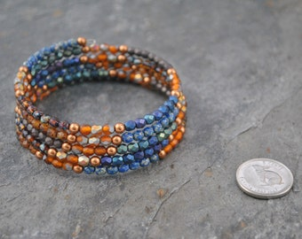 Faceted Czech Glass and Swarovski Pearl Five Strand Memory Wire Bracelet