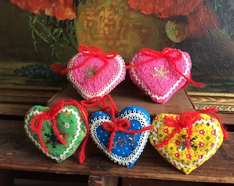 Heart Ornaments Set of 5 Christmas Holiday Decor Vintage Retro Handmade Fabric Gift Tags Pink Green Blue Joy Yellow Calico Red Yarn Bows