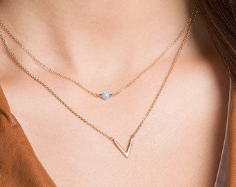 V Necklace · Dainty Minimal V Necklace · Simple Geometric Layering Necklace · Gold or Silver