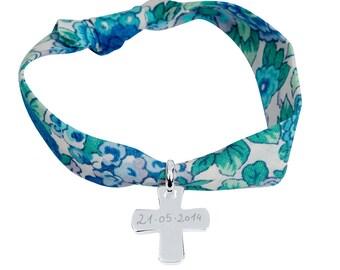 Sterling Silver Cross bracelet customized for child, teen